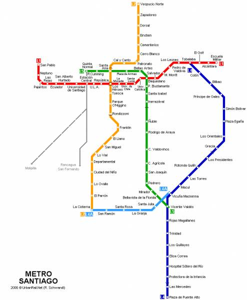 Карта метро Сантьяго Чили